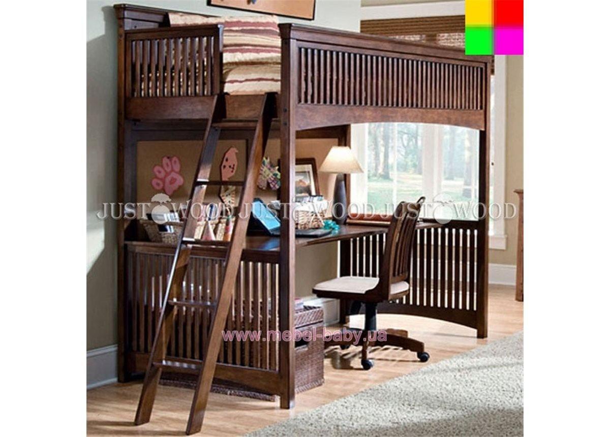 Кровать-чердак со столом Чипполино Justwood