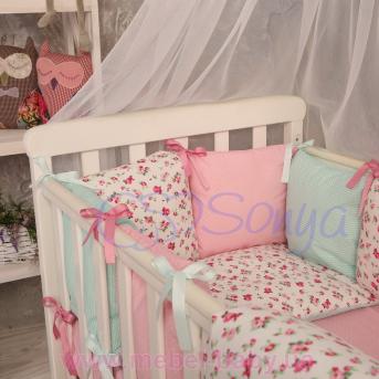 Защита Бэби дизайн премиум №14 Прованс 12 подушек + простыня