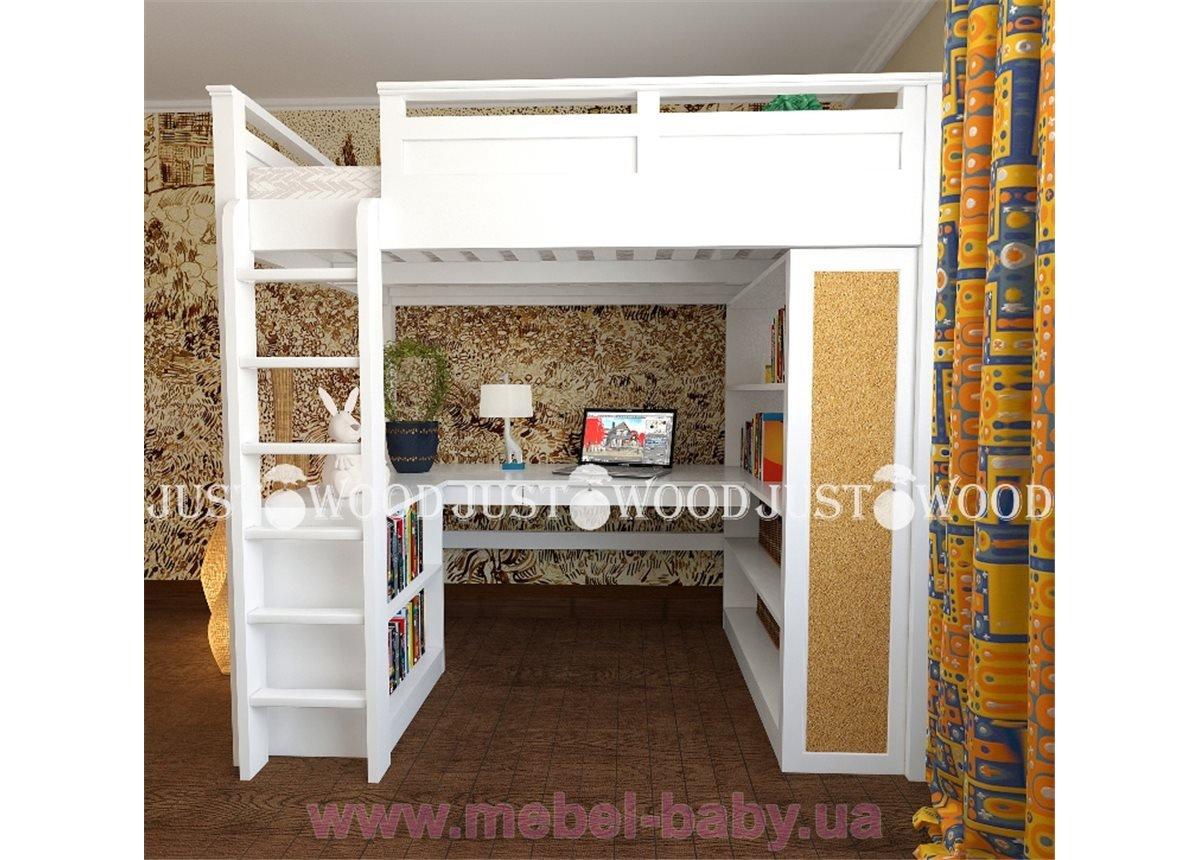 Кровать-чердак со столом полный комплект Лофт Justwood