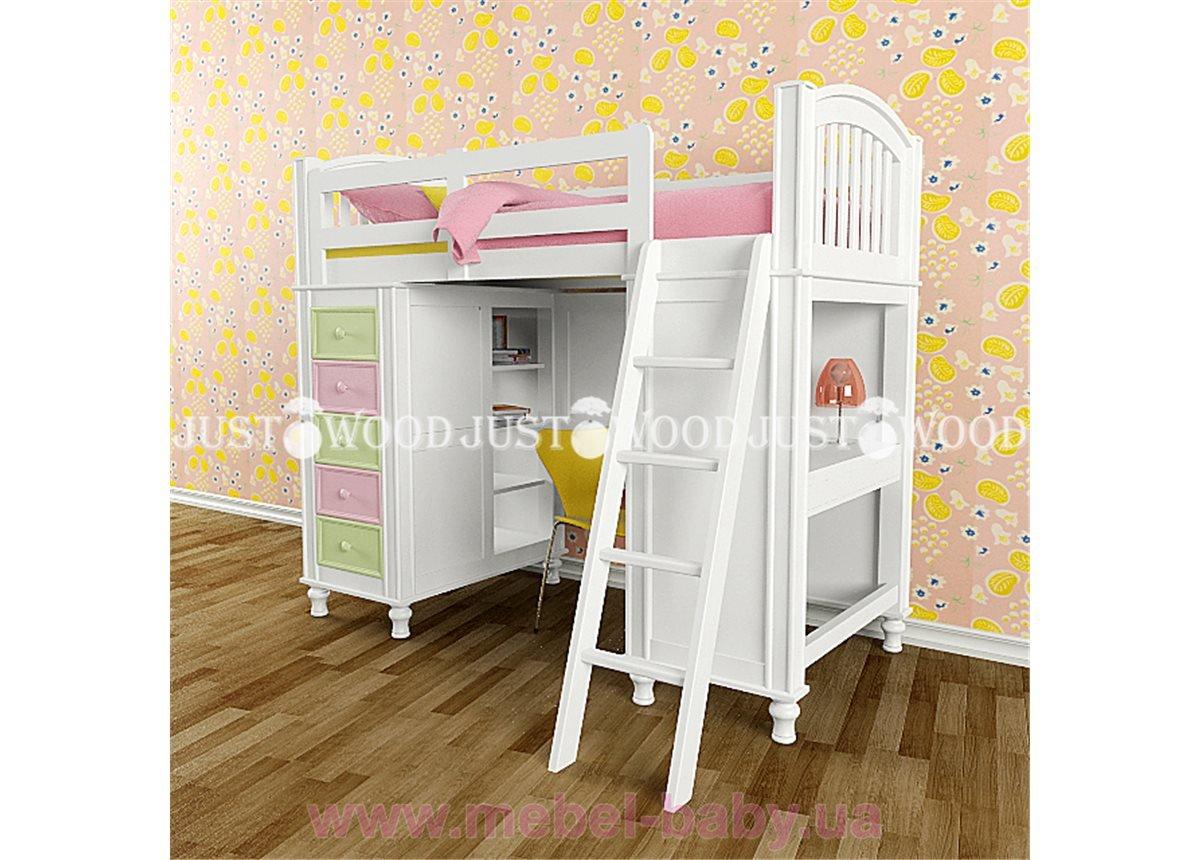 Кровать-чердак со столом Гуффи Justwood