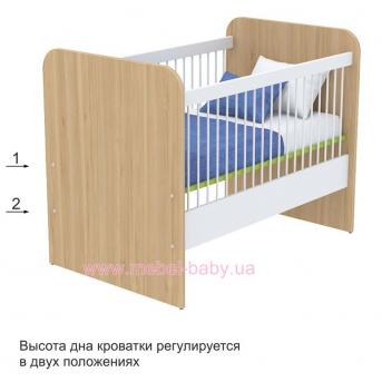 Не качающаяся кроватка для новорожденных Акварели кв-50 Зеленые Briz Коричневый 60х120