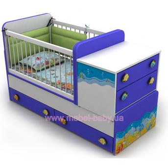 Кроватка-трансформер для новорожденных Od-30 Briz Голубой 70х120