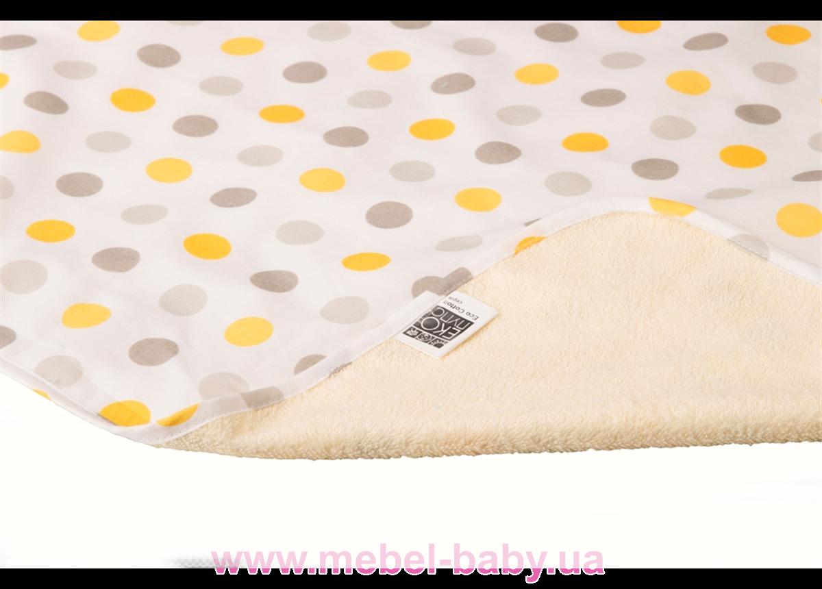 Пеленка двустороняя непромокаемая ЭКО ПУПС Eco Cotton р.50х70 см. (Горошек)