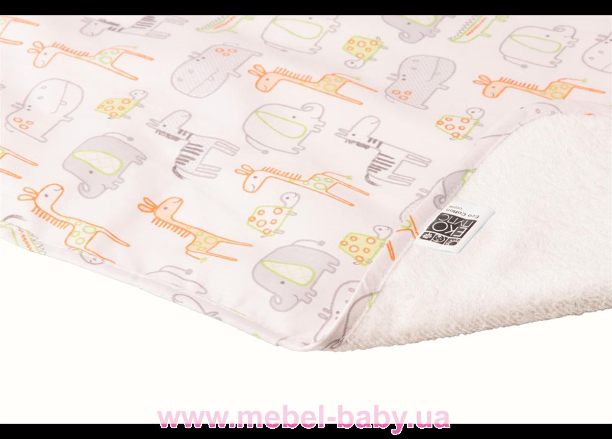 Пеленка двустороняя непромокаемая ЭКО ПУПС Eco Cotton р.65х90 см. (Зоопарк)