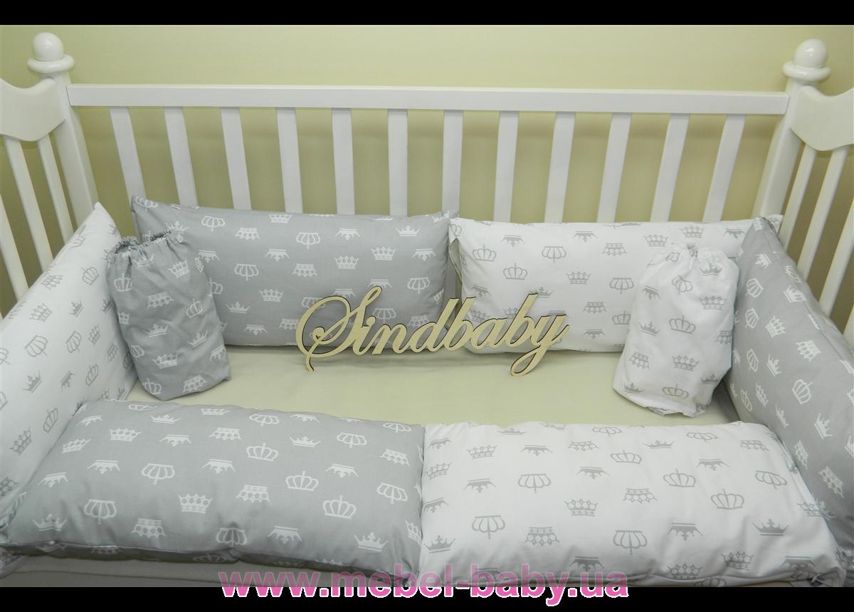 """Комплект в кроватку """"GW Crown"""" 6 бортиков с постельным Sindbaby"""