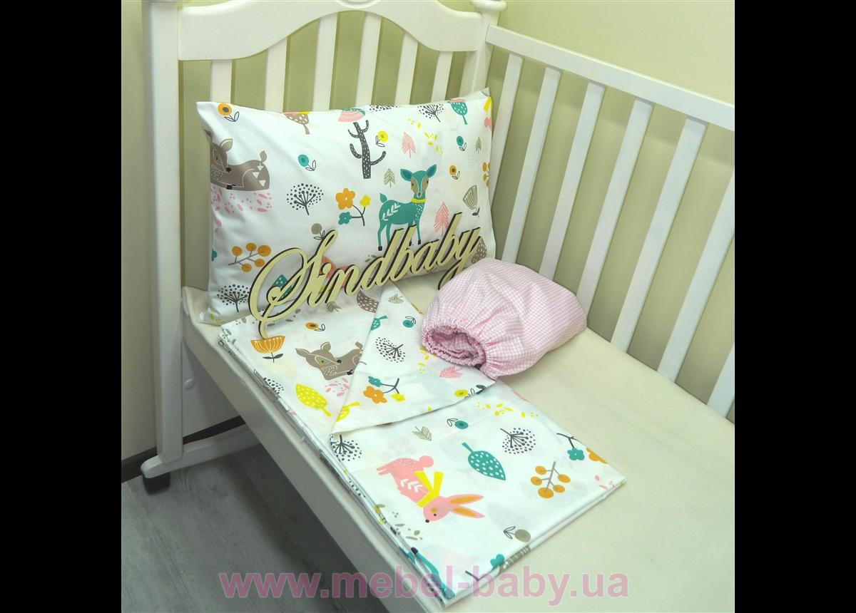 Комплект детского белья в кроватку сатин Sindbaby