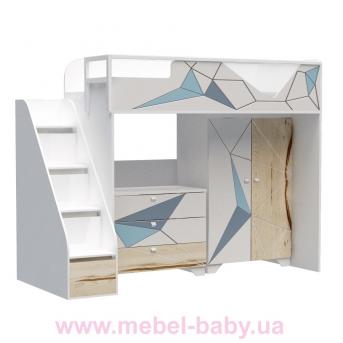 Кровать-чердак высокая O-M-005 Origami Эдисан 90x190 белый