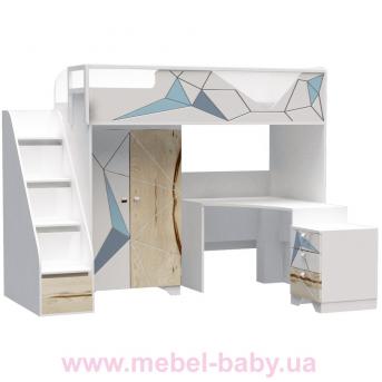 Кровать-чердак со столом O-M-006 Origami Эдисан 90x190 белый