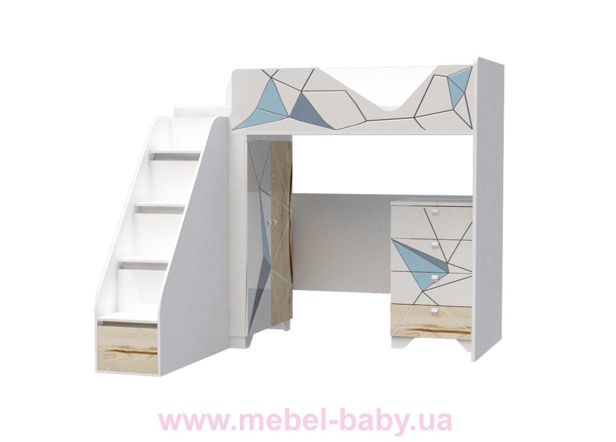 Кровать-чердак высокая O-M-002 Origami Эдисан 90x190 белый
