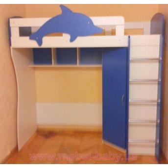 """Кровать-чердак с угловым шкафом """"Дельфин"""" (к24) Мерабель 80x190"""