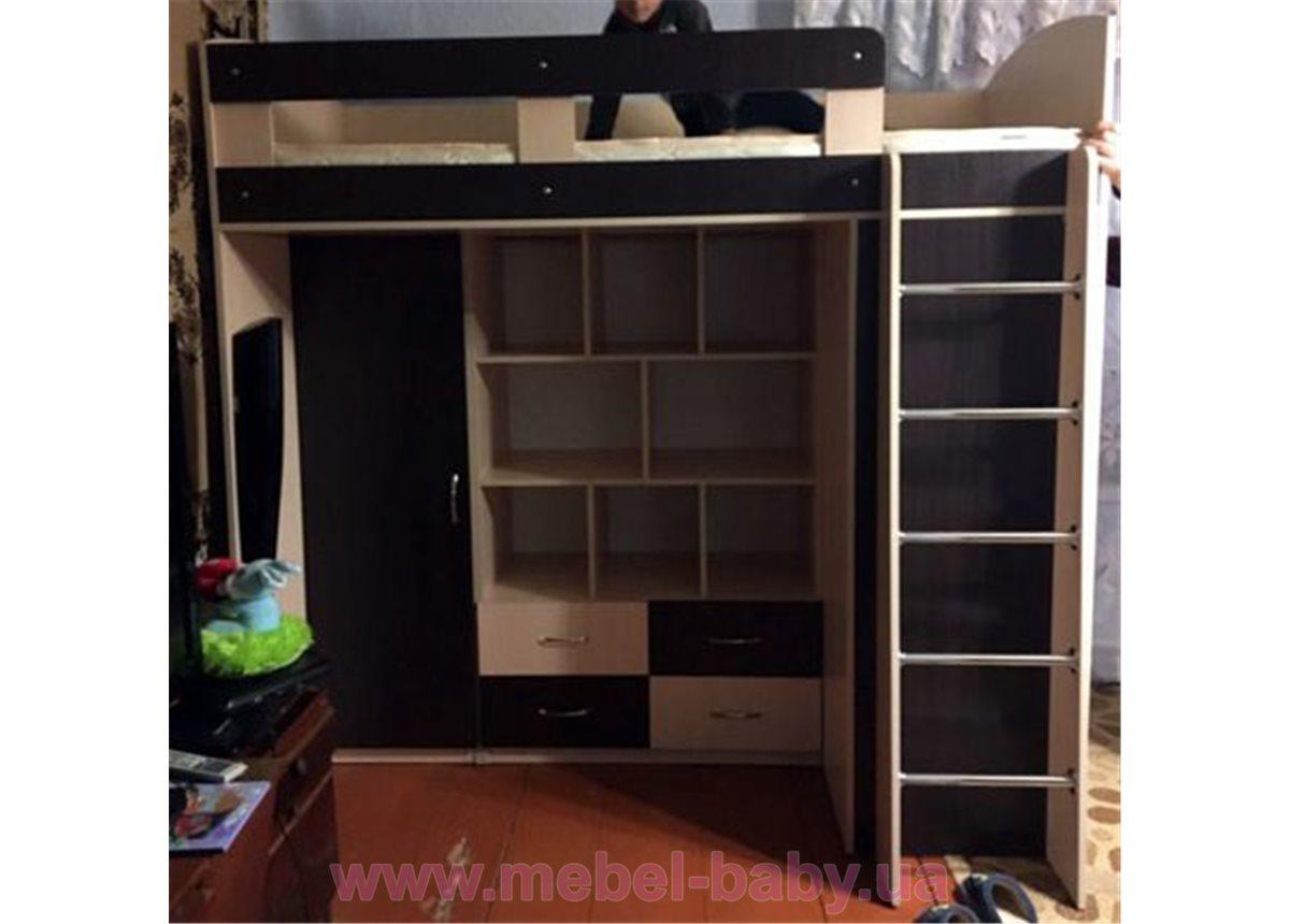 Кровать-чердак с пеналом, полками, ящиками и боковым шкафом (к30) Мерабель 80x190