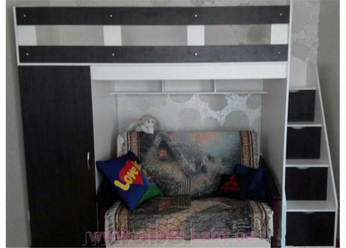 Кровать-чердак с пеналом и лестницей-комодом (кл39-2) Мерабель 80x190