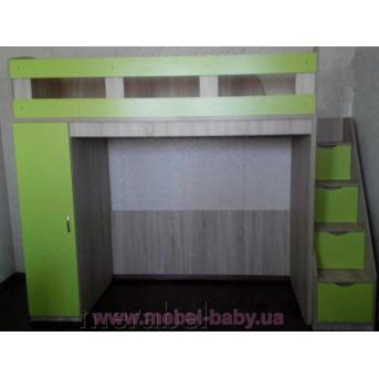 Кровать-чердак с пеналом и лестницей-комодом (кл39) Мерабель 80x190