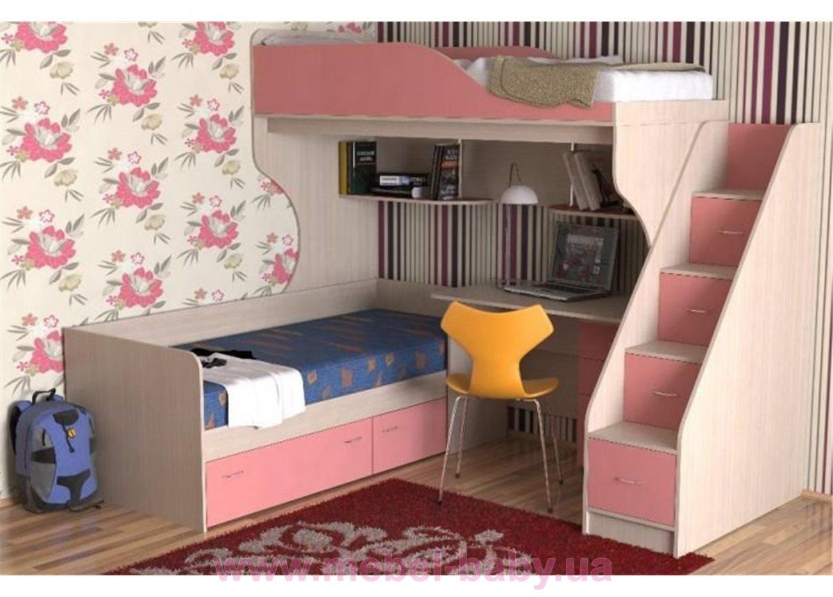 Двухъярусная детская кровать с рабочей зоной и лестницей-комодом (ал1) Мерабель 80x190