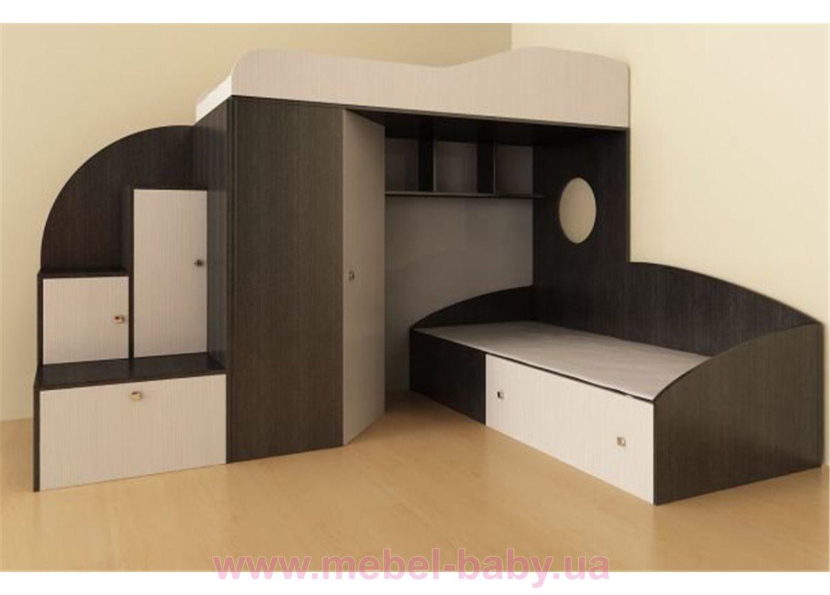 Детская двухъярусная кровать с угловым шкафом и лестницей-тумбой (ат1) Мерабель 80x190