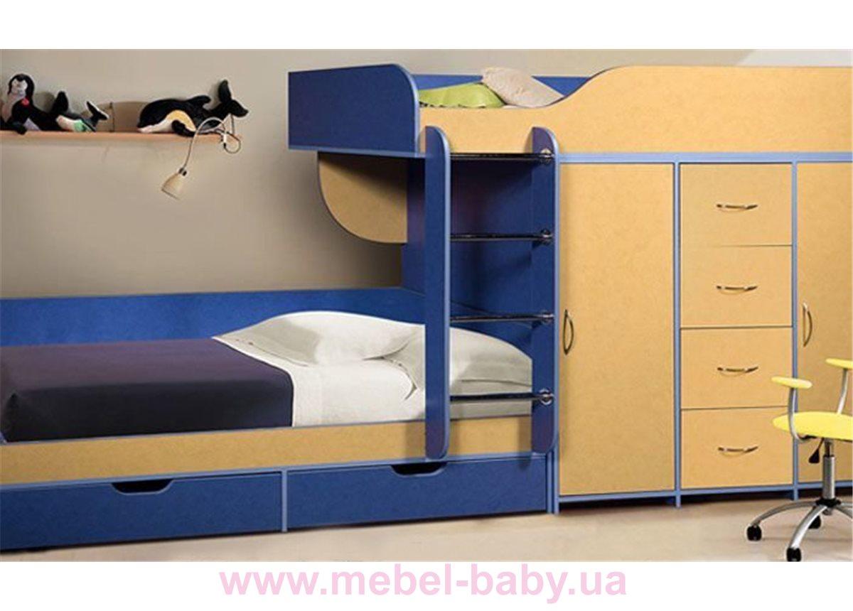 Детская двухъярусная кровать со шкафом и комодом (а8) Мерабель 80x190