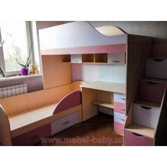 Детская двухъярусная кровать с рабочей зоной и лестницей-комодом (ал14-3) Мерабель 80x190