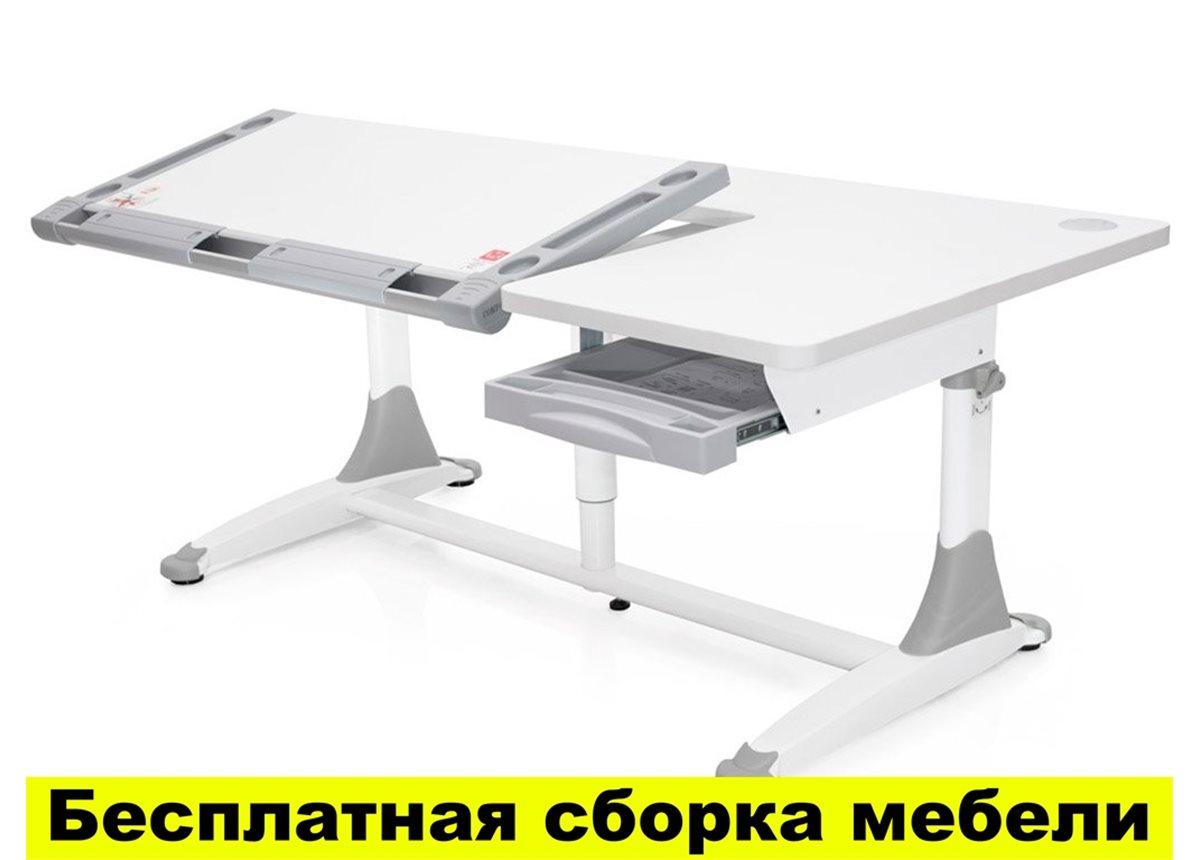 Стол Mealux King White G (арт.BD-368 White G) - столешница белая / накладки на ножках серые