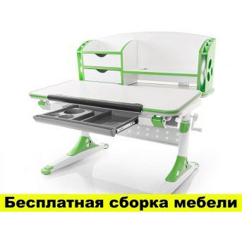 Стол Evo-kids Aivengo (M) Green (арт.Evo-700 WZ) - столешница  белая / ножки белые с зеленым