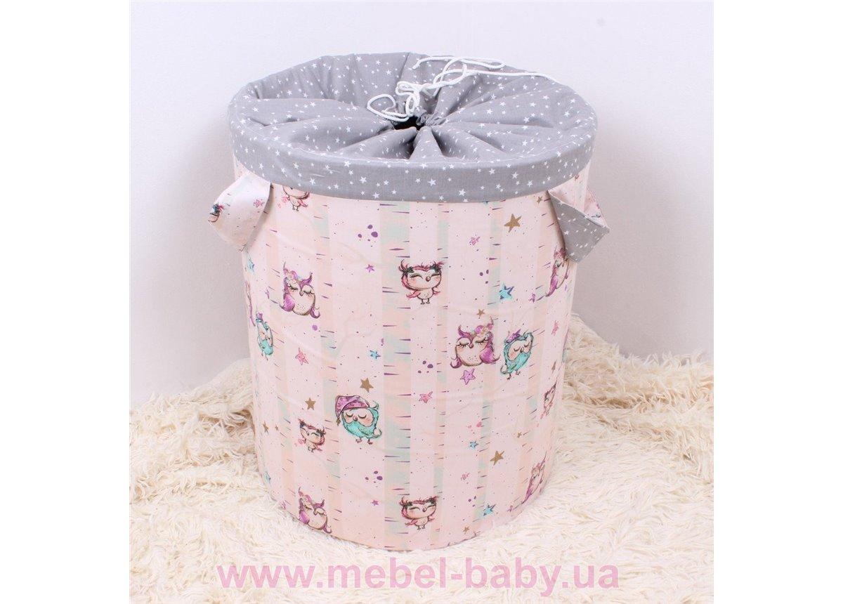 Корзина для игрушек Совушки на розовом Мирамель