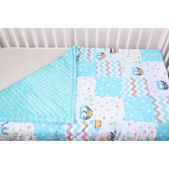 Детское лоскутное одеяло на плюше бирюза Осень-Весна Мирамель