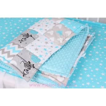 Детское лоскутное одеяло на плюше в бирюзовых тонах Осень-Весна Мирамель