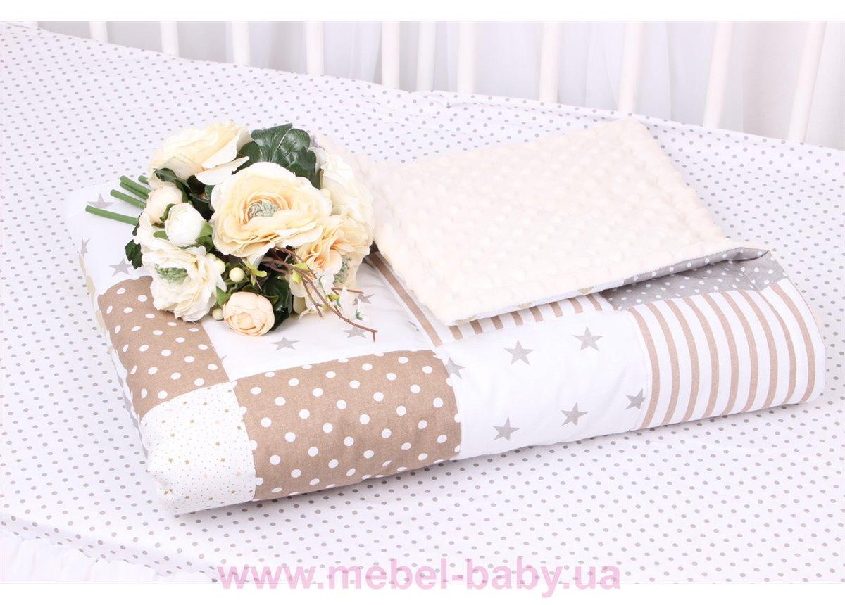 Детское лоскутное одеяло на плюше в коричнево-бежевых тонах Осень-Весна Мирамель