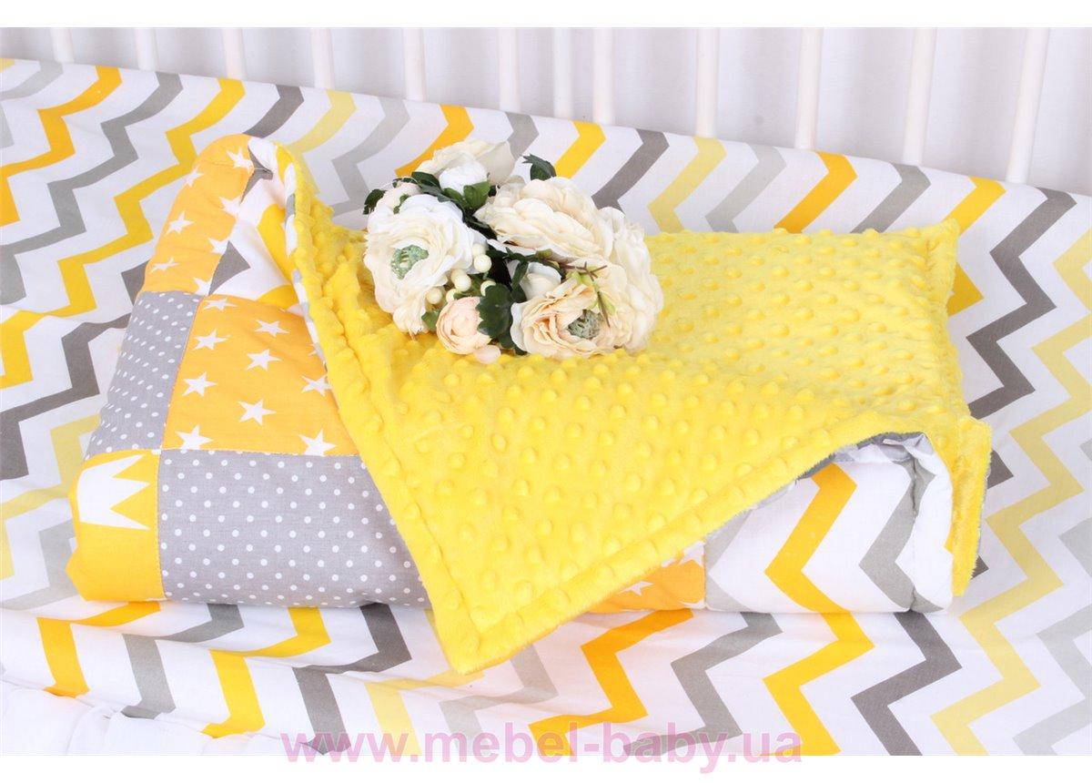 Детское лоскутное одеяло на плюше в серо-желтых тонах Осень-Весна Мирамель