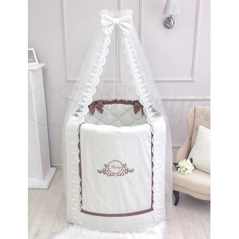 Комплект в овальную кроватку Belissimo шоколад 7 предметов Маленькая Соня