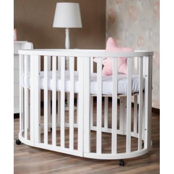 Кроватка детская круглая трансформер Angelo 72x120 белый с маятниковым механизмом