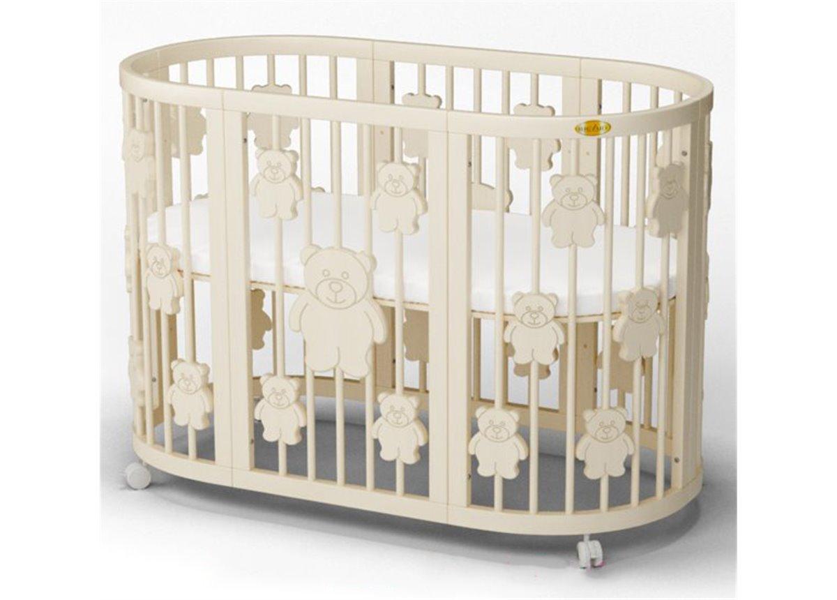 Кроватка SMARTBED ROUND на полозьях для качания 9-в-1 с мишками IngVart 72x72