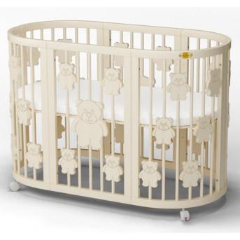 Кроватка SMARTBED ROUND на полозьях для качания с опускающейся стенкой 9-в-1 с мишками IngVart 72x72
