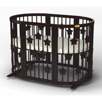 Кроватка SMARTBED ROUND на полозьях для качания с опускающейся стенкой 9-в-1 со звездочками IngVart 72x72