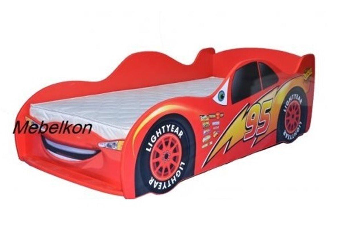 Кроватка машина Молния Маквин 80x170 Красный