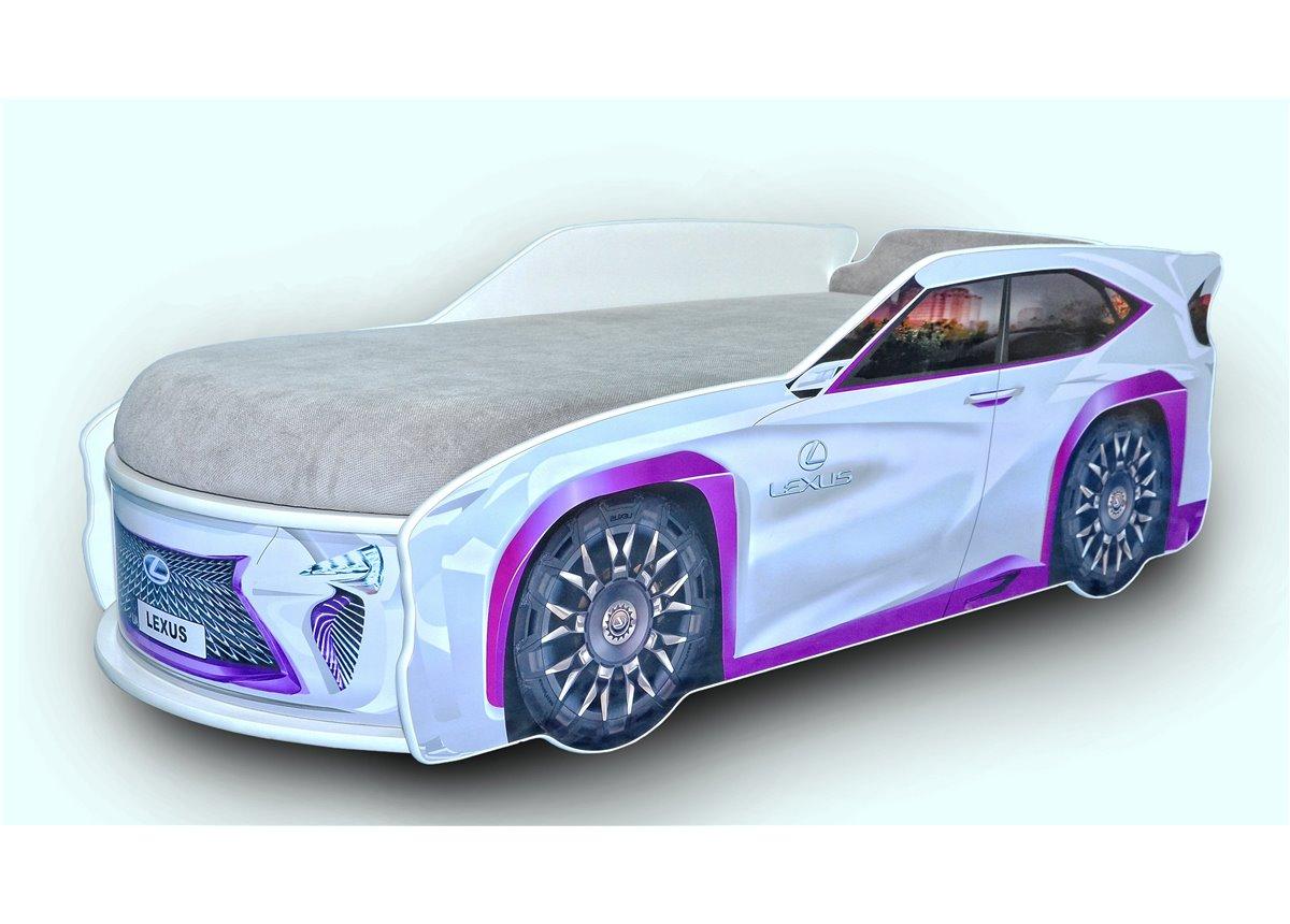 Кровать-машина Джип Lexus 80х170 без подъемного механизма с матрасом и спойлером MebelKon серая