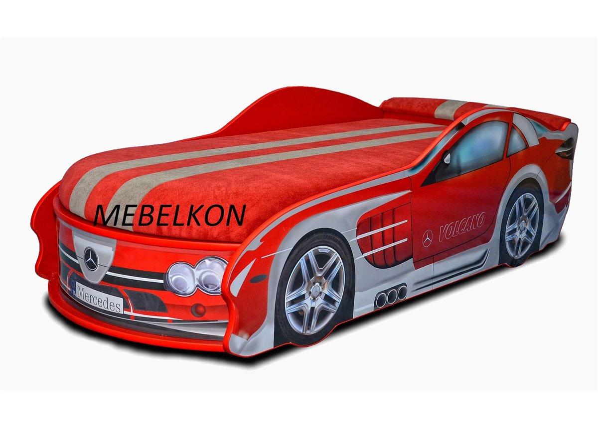Кровать-машина Мерседес 70х150 с подъемным механизмом с матрасом и спойлером MebelKon