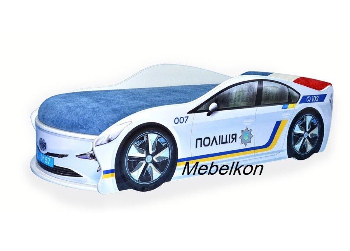 Кровать-машина Полиция Украина 80х180 с подъемным механизмом с матрасом и спойлером MebelKon
