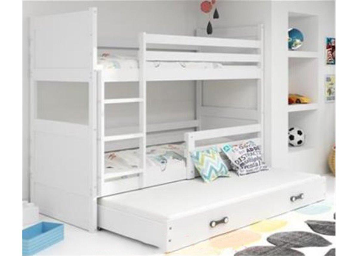 Двухъярусная кровать + доп. место + 3 матраса + бортик RICO Triple BMS Group 90x200