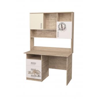 Стол с надстройкой и рисунком Дуб шервуд/Белый MebelKon