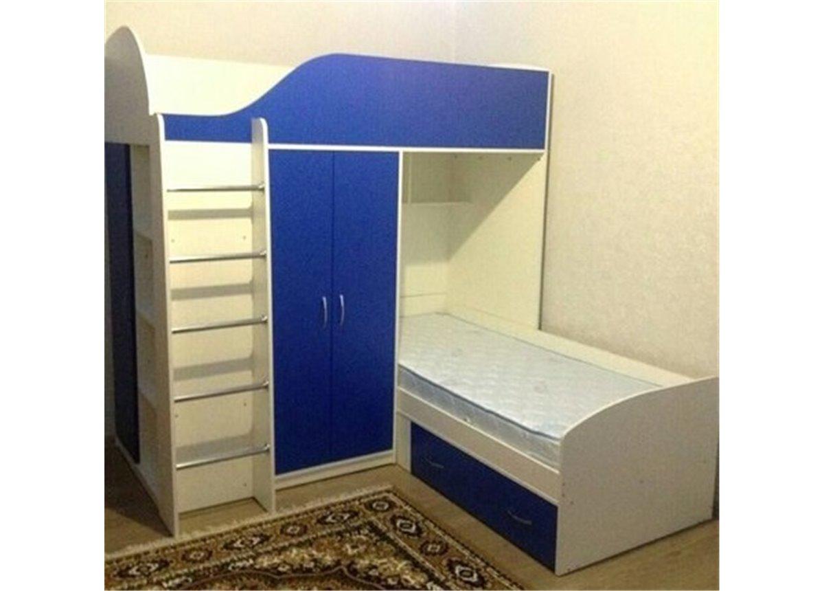 Кровать детская двухъярусная со шкафом (а13) Мерабель 80x190
