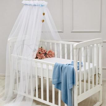 Балдахин Happy Baby белый с голубой лентой Маленькая Соня