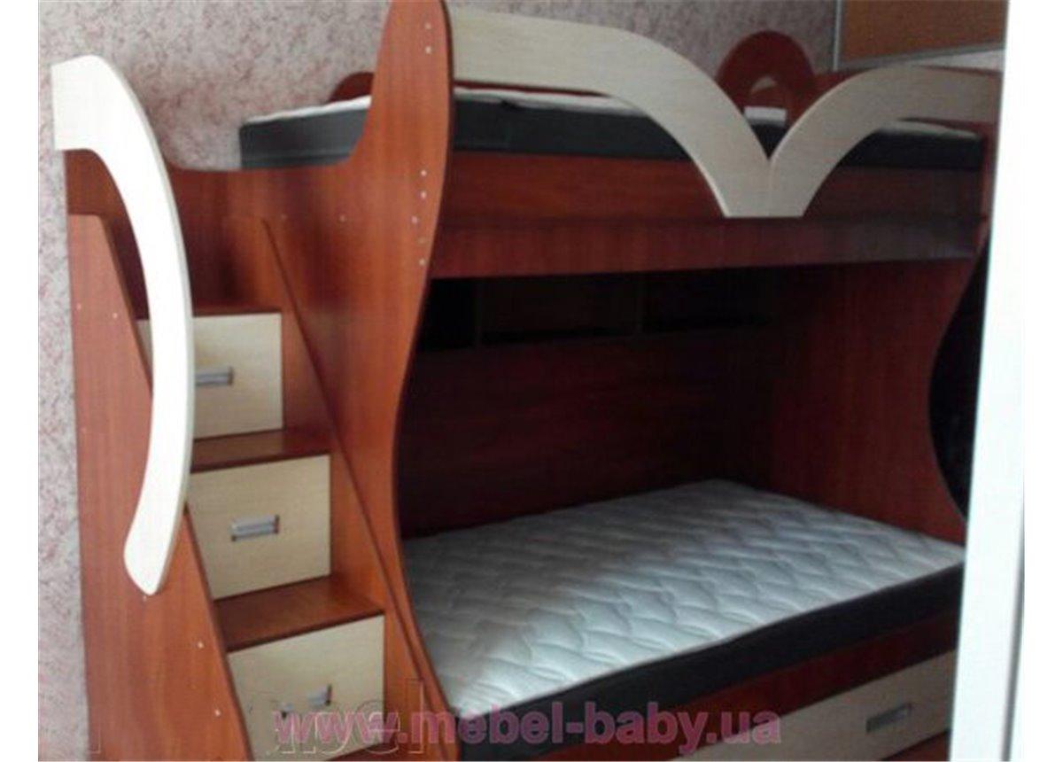 Кровать детская двухъярусная с лестницей-комодом и полками (ал20-4) Fimebel 80x190