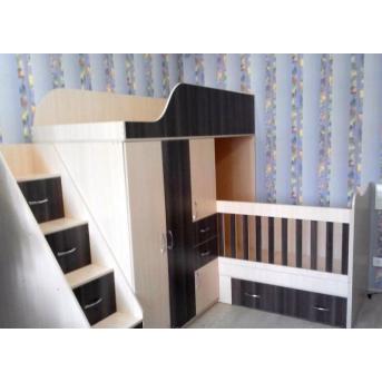 Детская двухъярусная кровать-трансформер со шкафом, тумбой, ящиками и лестницей-комодом (ал17) Fimebel 80x190