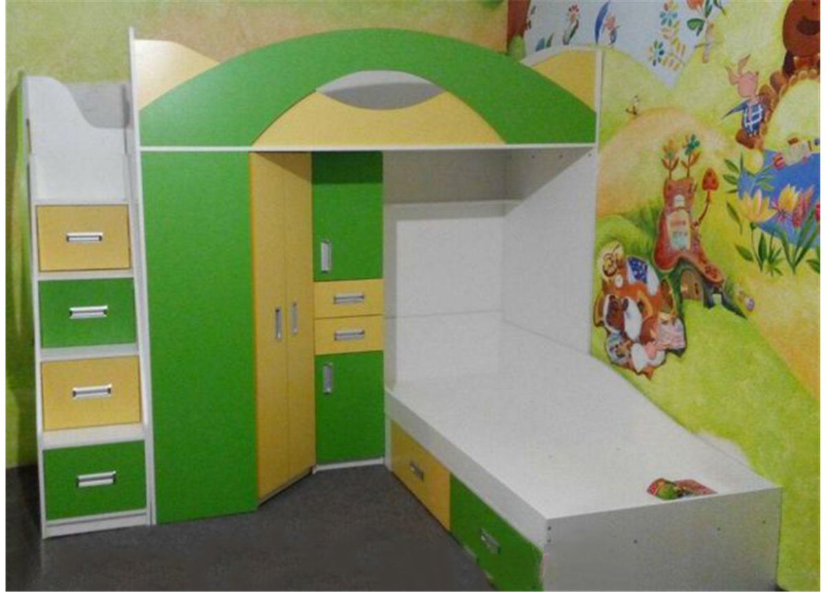 Детская двухъярусная кровать с угловым шкафом и лестницей-комодом (ал16-2) Fimebel 80x190