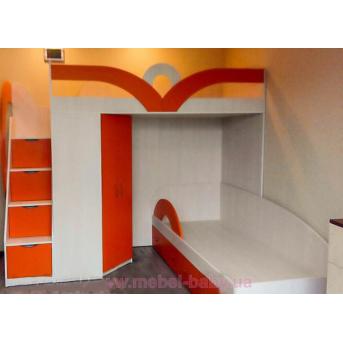 Детская двухъярусная кровать с угловым шкафом и лестницей-комодом (ал16) Fimebel 80x190