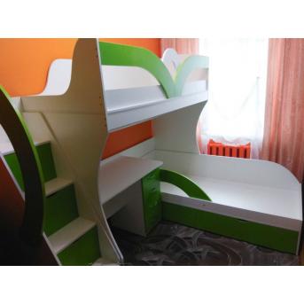 Детская двухъярусная кровать с рабочей зоной и лестницей-комодом (ал14-2) Мерабель 80x190