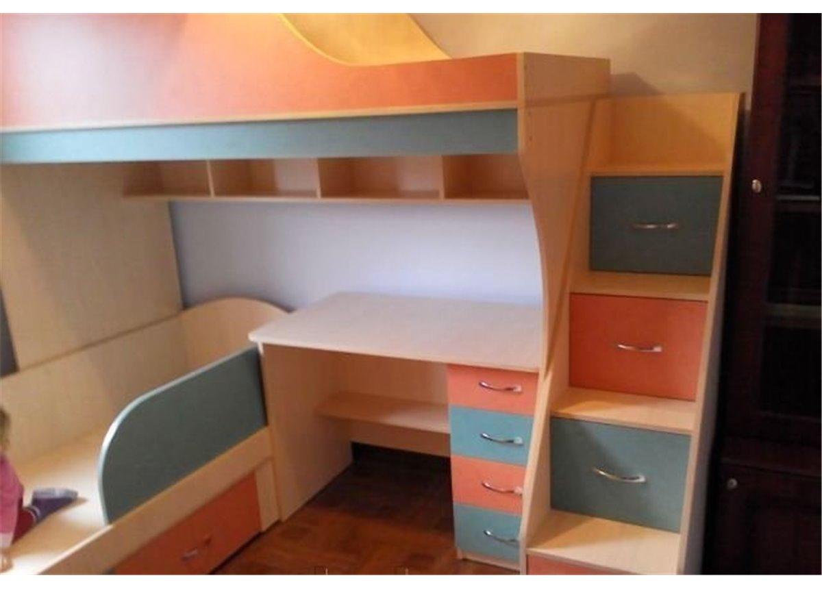 Детская двухъярусная кровать с рабочей зоной и лестницей-комодом (ал14) Fimebel 80x190