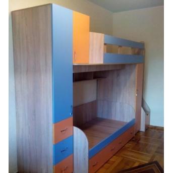 Детская двухъярусная кровать с пеналами, тумбой и лестницей-комодом (ал7-2) Мерабель 80x190