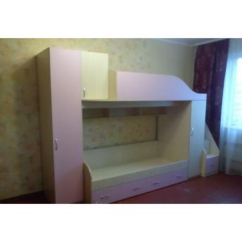 Детская двухъярусная кровать с пеналами, тумбой и лестницей-комодом (ал7) Fimebel 80x190