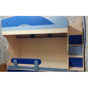 Детская двухъярусная кровать с лестницей-комодом (ал5) Мерабель 80x190
